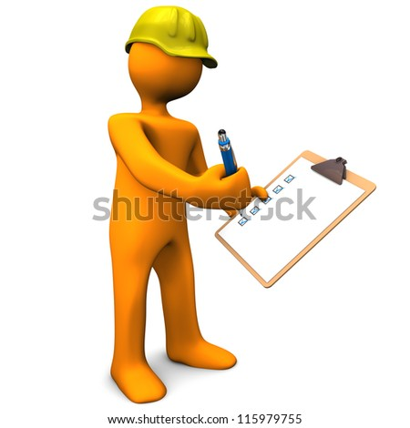 Orange cartoon character with clipboard and yellow helmet. White background. - stock photo