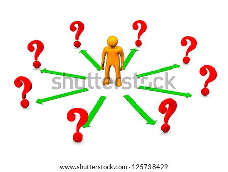 Orange cartoon character with green arrows and red question marks. - stock photo