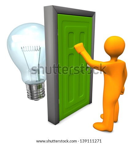 Orange cartoon character with green door and bulb. White background. - stock photo
