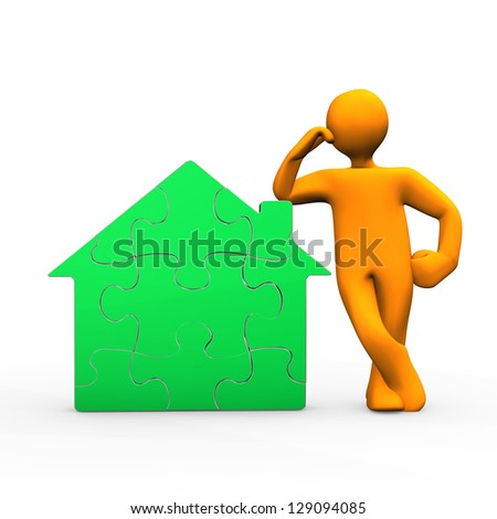 Orange cartoon character with green puzzle house.