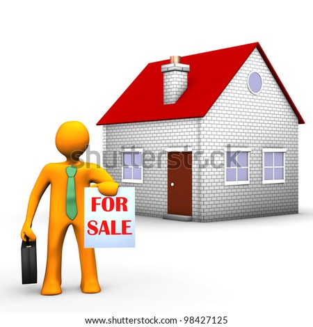 Orange cartoon character with house on the white background. - stock photo