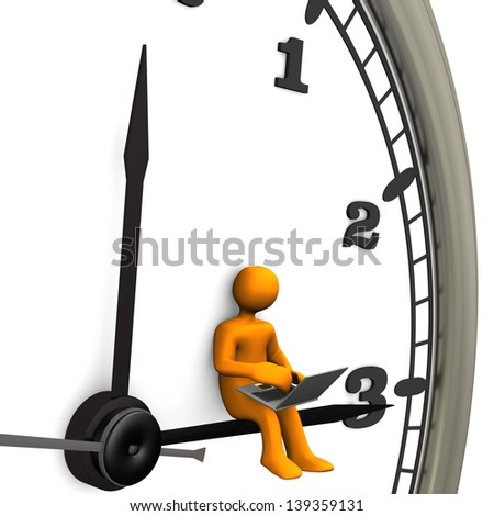 Orange cartoon character with laptop and big wall clock - stock photo