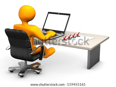 Orange cartoon character with laptop and checklist on table. - stock photo