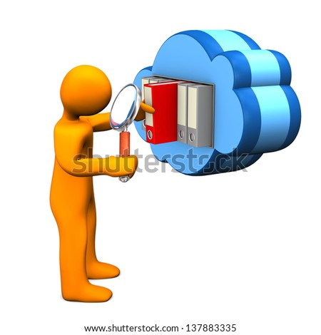 Orange cartoon character with loupe and blue cloud. White background. - stock photo
