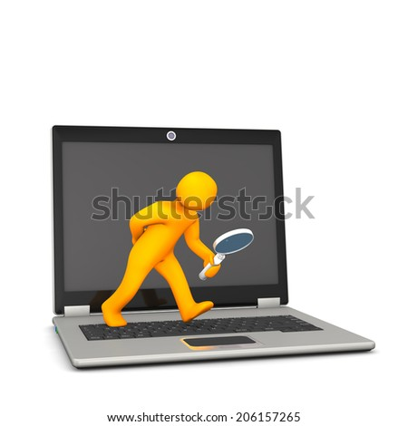 Orange cartoon character with loupe and notebook, on the white background. - stock photo