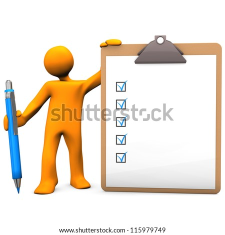 Orange cartoon character with pen and clipboard, white background. - stock photo