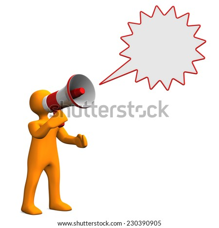 Orange cartoon character with speech bubble and bullhorn. - stock photo