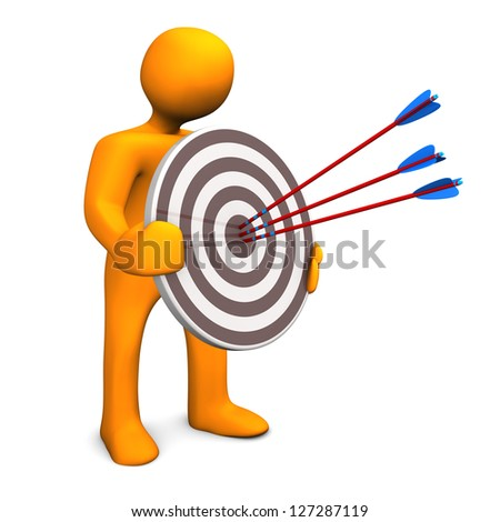 Orange cartoon character with target and three arrows. - stock photo