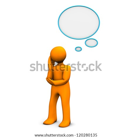 Orange cartoon character with thought bubble. White background. - stock photo