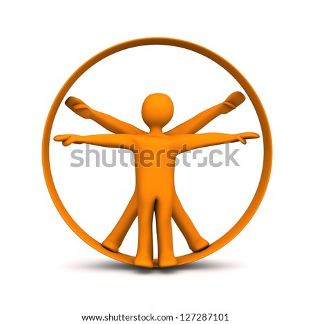 Orange cartoon characters in the circle. White background. - stock photo