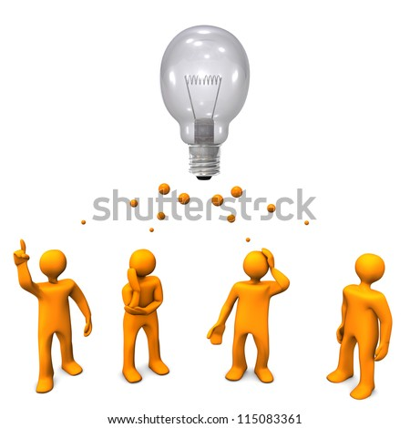 Orange cartoon characters with a big bulb. White background. - stock photo