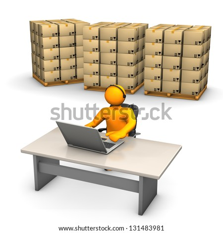Orange cartoon characters with laptop, headset and pallets on the white background. - stock photo