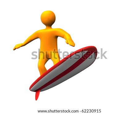 Orange cartoon on the red white surfboard.