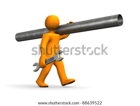 Orange cartoon, plumber, go with iron pipe. - stock photo
