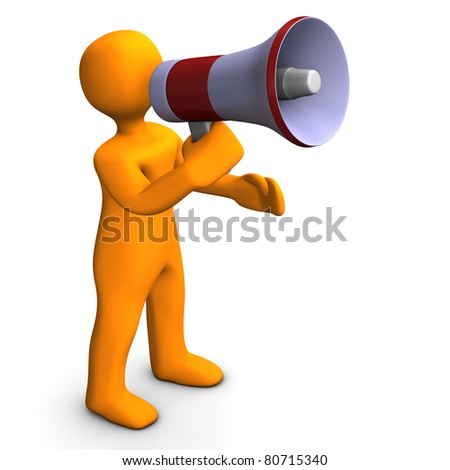 Orange cartoon talking into a megaphone - bullhorn . - stock photo