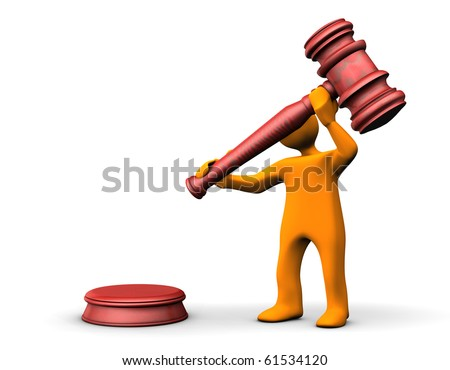 Orange cartoon with a judge hammer on the white background.