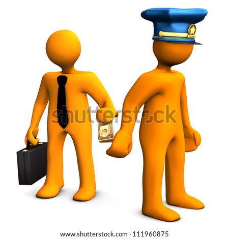 Orange cartoon with police cap and money in the hand. - stock photo