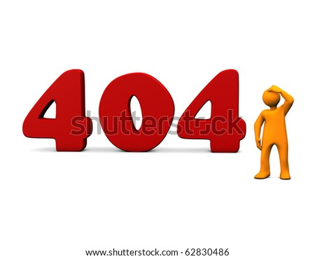 "Orange cartoon with red ""404"" text on white. - stock photo"