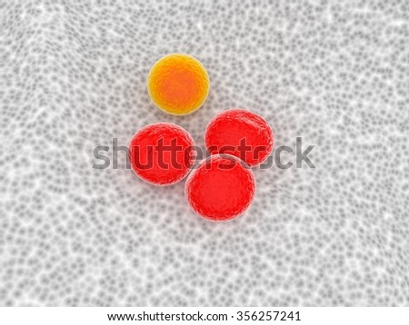 orange cell make of difference - stock photo