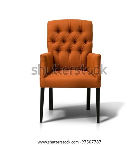 Orange chair isolate on white - stock photo