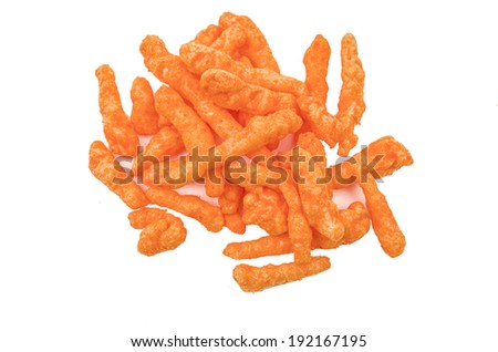 orange cheese flavoured snacks - stock photo