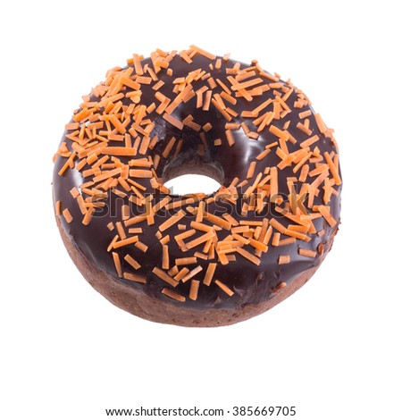 Orange chocolate donut with sprinkles isolated on white background top view - stock photo