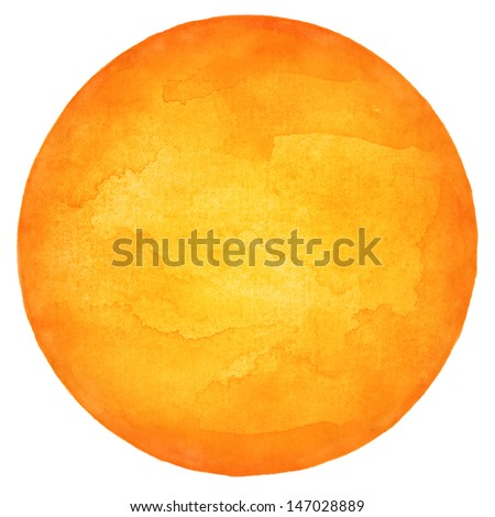 Orange circle blank watercolor on white background. Image round shape form isolated of square format. Colored aquarelle template  backdrop created in handmade technique. - stock photo