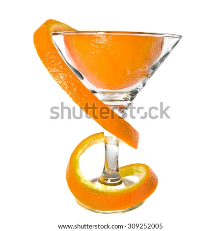 Orange citron with long a peel in a glass, a zest bend a spiral, on a white background - stock photo