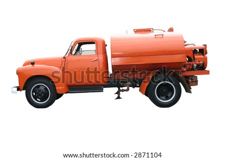 orange city/county road maintenance tanker truck - stock photo