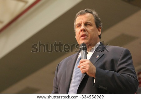 ORANGE CITY, IOWA - OCTOBER 30, 2015: Presidential Candidate, Governor Chris Christie of New Jersey, speaks at a Republican political rally. - stock photo