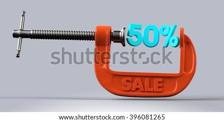 orange clamp 50 percent sale - stock photo