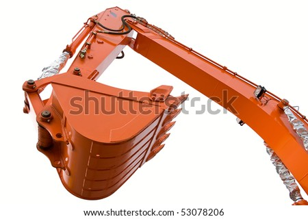 Orange clear excavator bucket isolated over white with clipping path. Close up. - stock photo