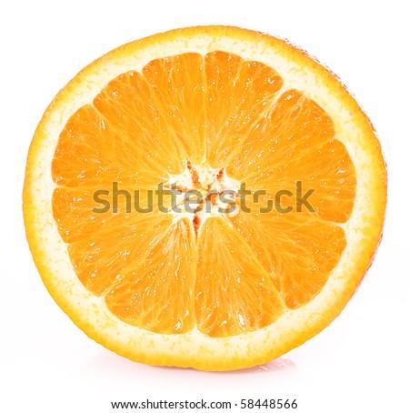 Orange closeup isolated on a white background - stock photo