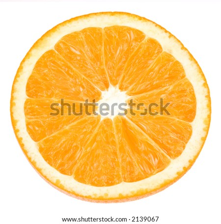 orange closeup on white background with path