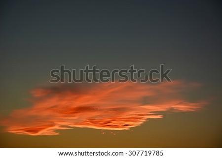 Orange cloud. Sunset time, natural sky background - stock photo
