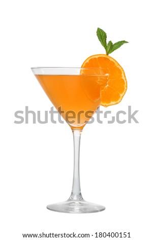 Orange cocktail cutout, isolated on white background - stock photo