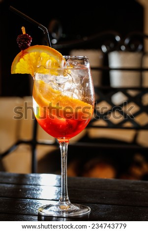 orange cocktail drink - stock photo