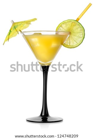 Orange cocktail in a glass isolated on a white background - stock photo