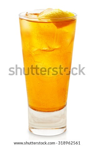 Orange cocktail studio shooting isolation on white background with pen clipping path included