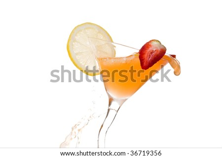 orange cocktail with lime and strawberry on white - stock photo