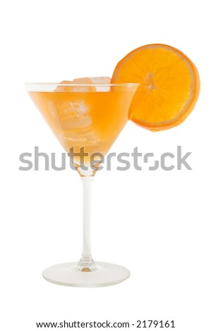 orange cocktail with slice of orange and icecubes isolated on white and clipping path included - stock photo