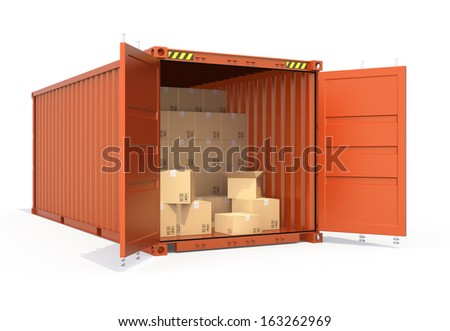 Orange color opened cargo container and cardboard.