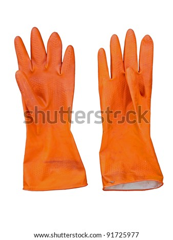 Orange color rubber glove, isolated on white - stock photo