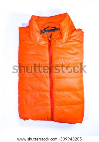 orange color,warm light weight  insulated  jacket  on white background. - stock photo