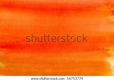 Orange colors painted canvas watercolor wash background. - stock photo