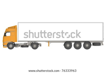 Orange Commercial Truck, Isolated. Part of warehouse series. - stock photo
