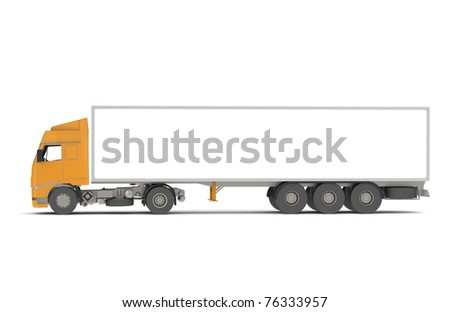 Orange Commercial Truck, Isolated with Shadows. Part of warehouse series. - stock photo
