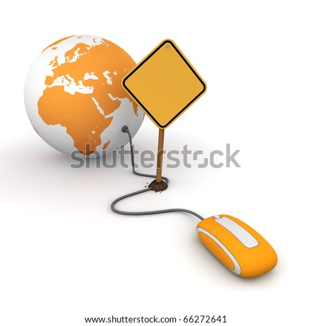 orange computer mouse is connected to a orange globe - surfing and browsing is blocked by a yellow  warning sign that cuts the cable - sign as an empty template for your own text - stock photo