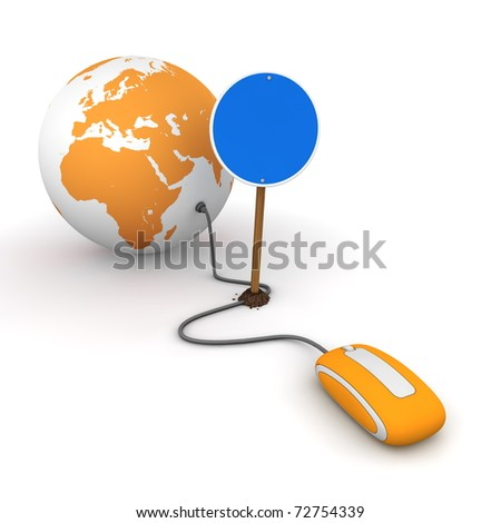orange computer mouse is connected to an orange globe - surfing and browsing is blocked by a blue round mandatory-sign - empty template - stock photo