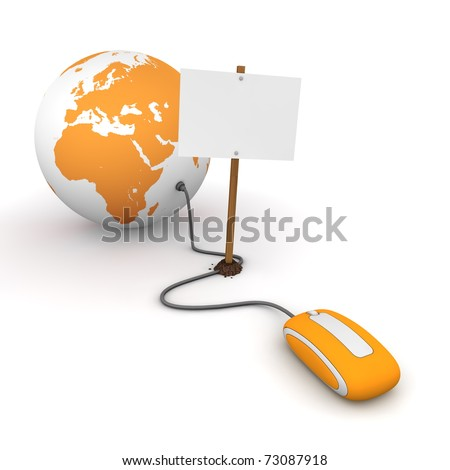orange computer mouse is connected to an orange globe - surfing and browsing is blocked by a white rectangular sign that cuts the cable - empty template - stock photo
